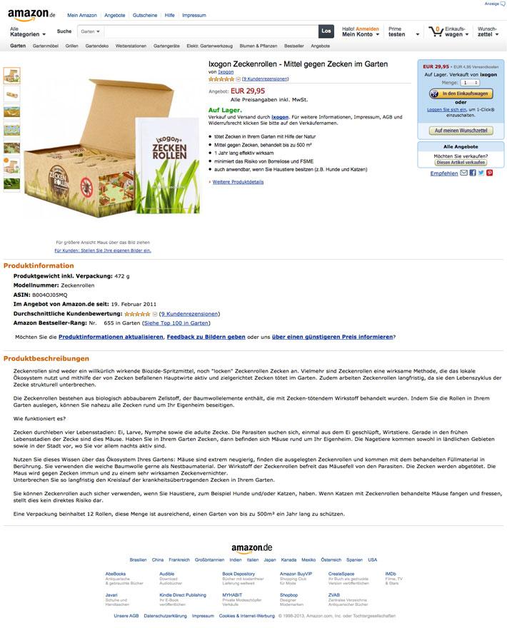 Amazon.de - Ixogon Zeckenrollen Mittel gegen Zecken
