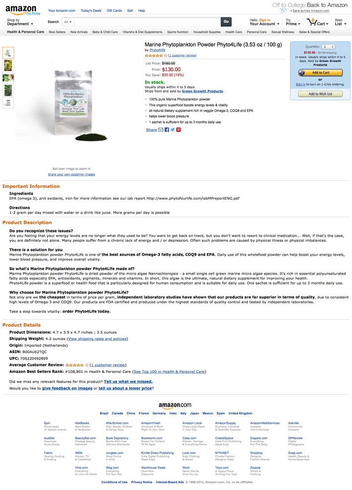 Amazon.com - Marine Phytoplankton powder