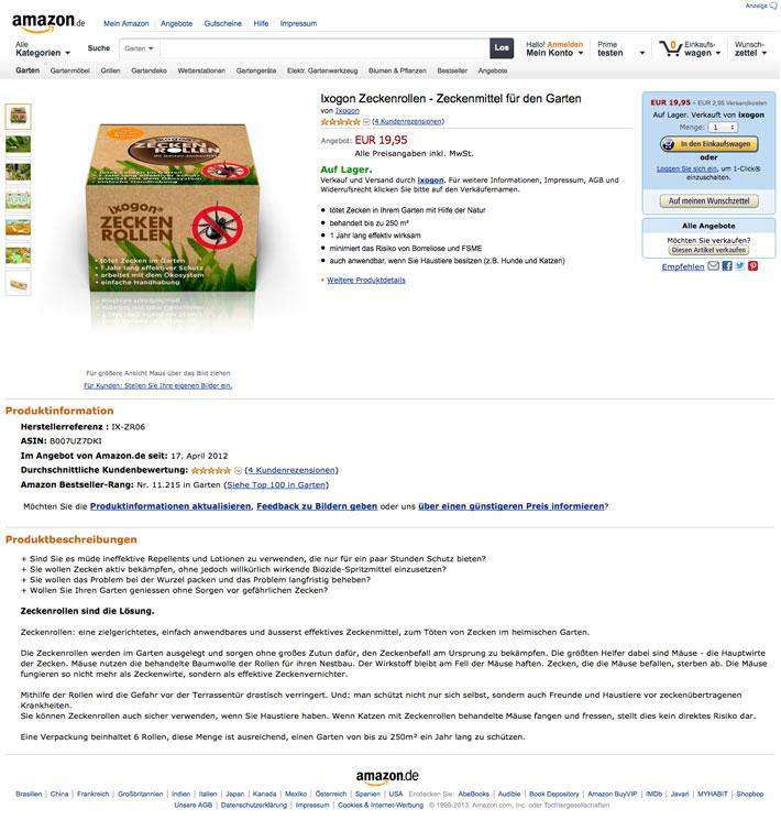 Amazon.de - Ixogon Zeckenrollen Zeckenmittel